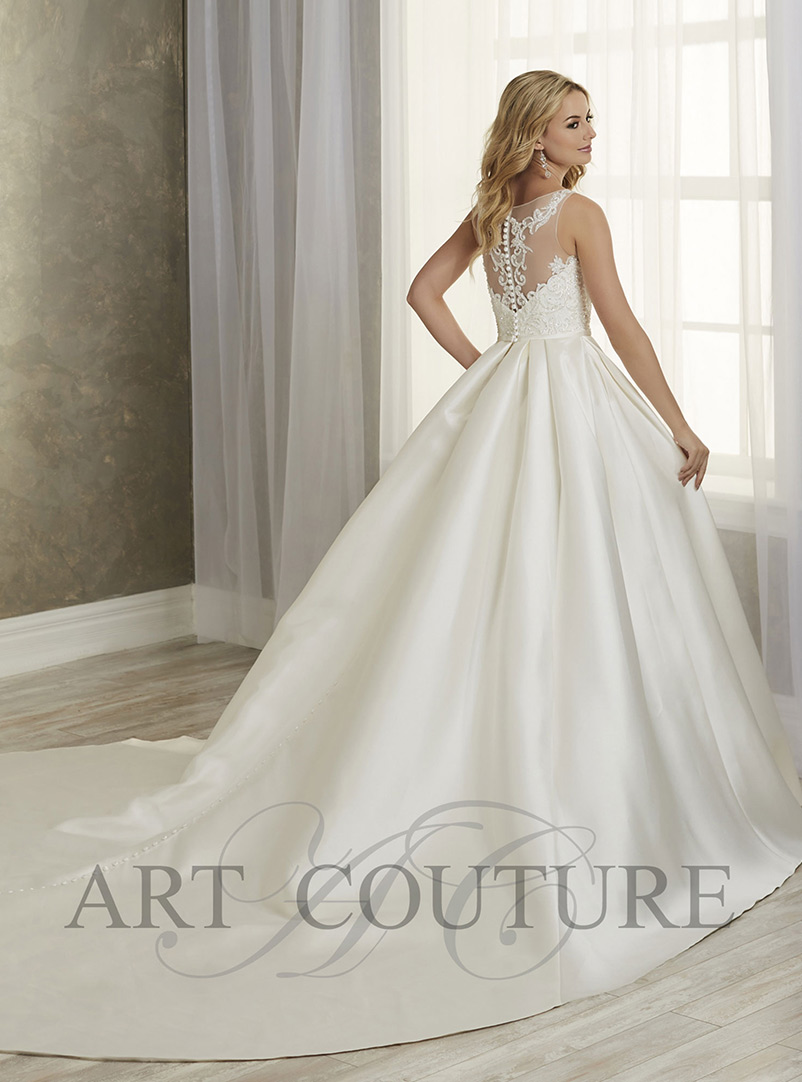 a line lace wedding dress with train