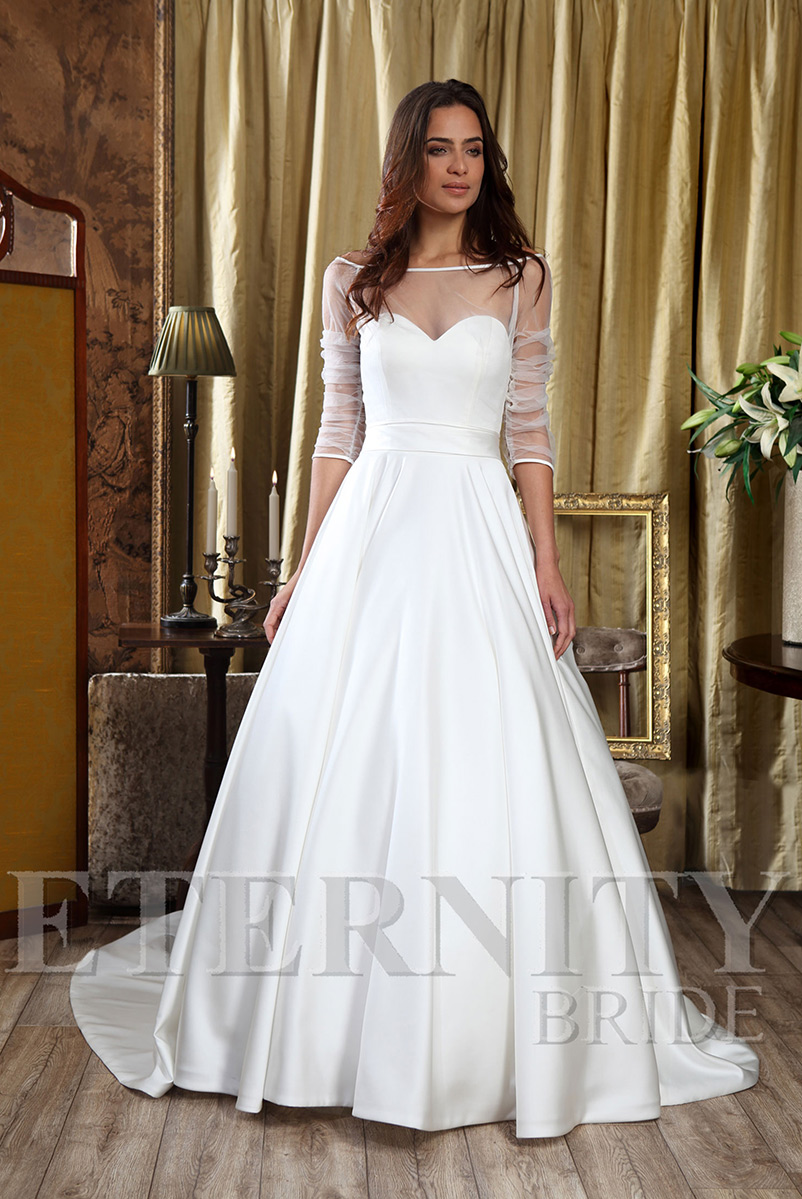 a line satin wedding dress