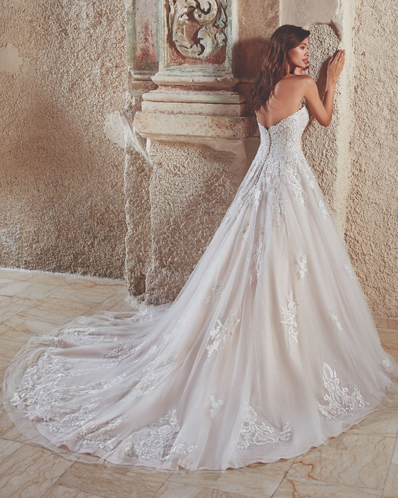 a line strapless wedding dress with lace