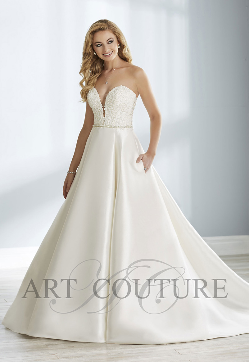 a line wedding dress strapless