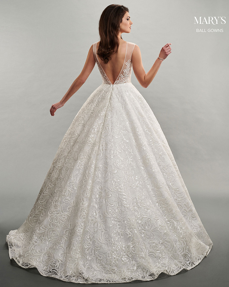 a line wedding dress with v-shaped back