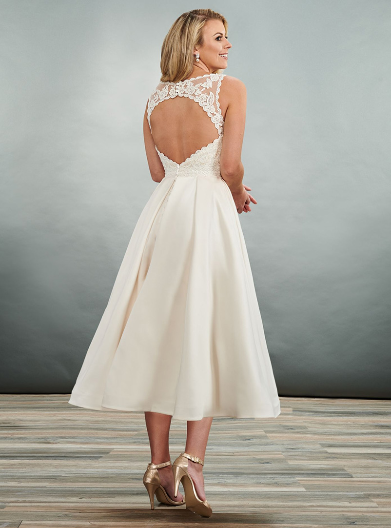 back keyhole a line wedding dress