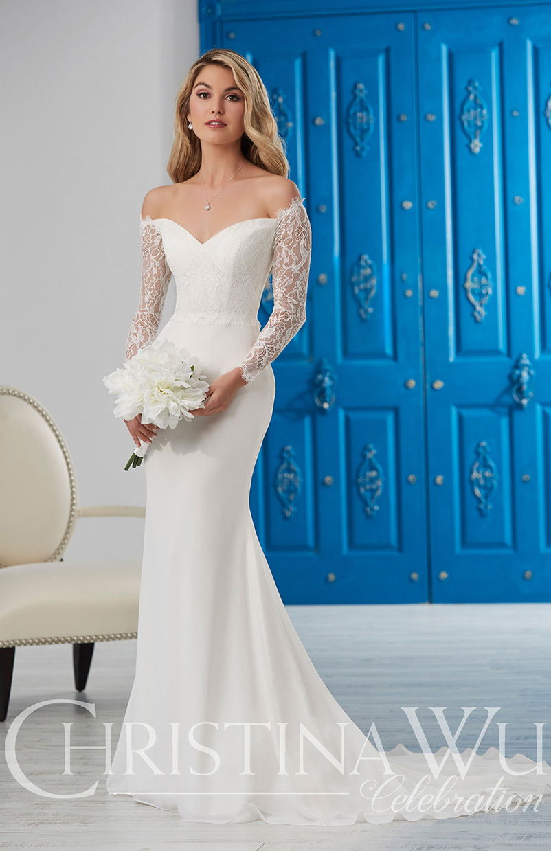 ivory off the shoulder long sleeve wedding dress