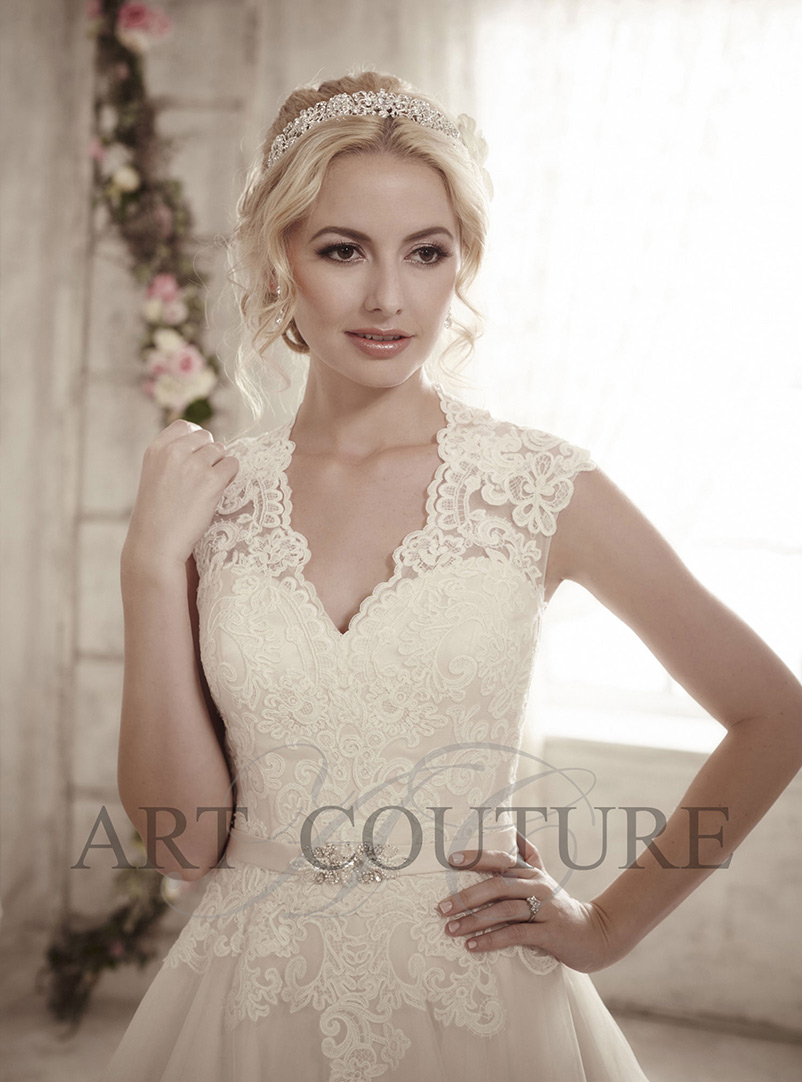 lace a line wedding dress with v neck