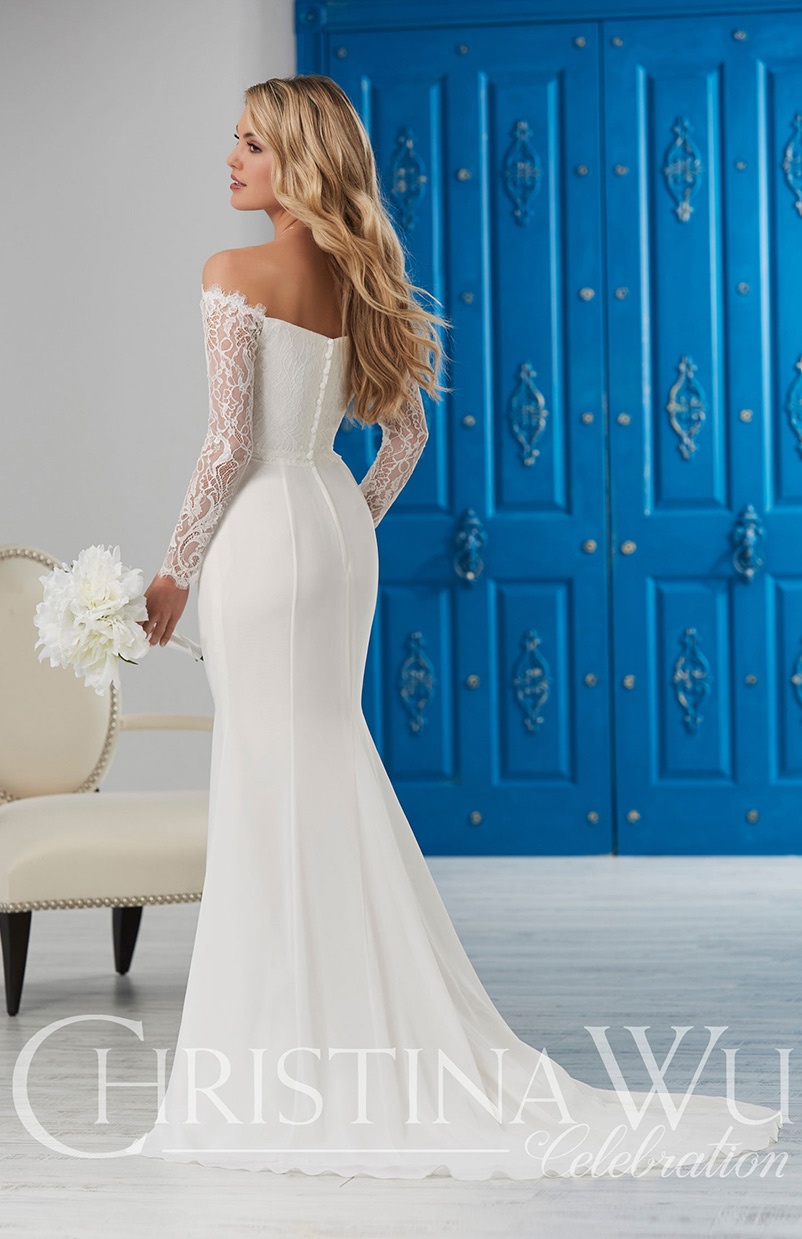 off the shoulder long sleeve lace wedding dress