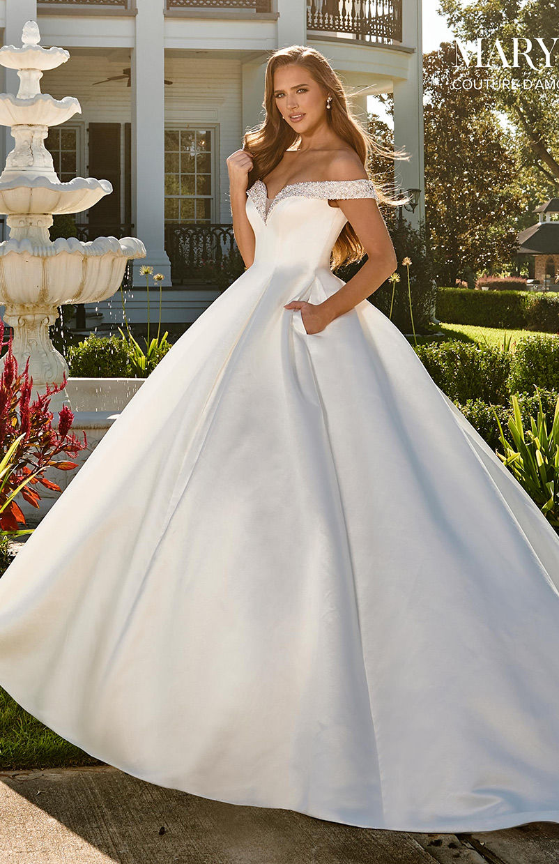 off the shoulder style wedding dress