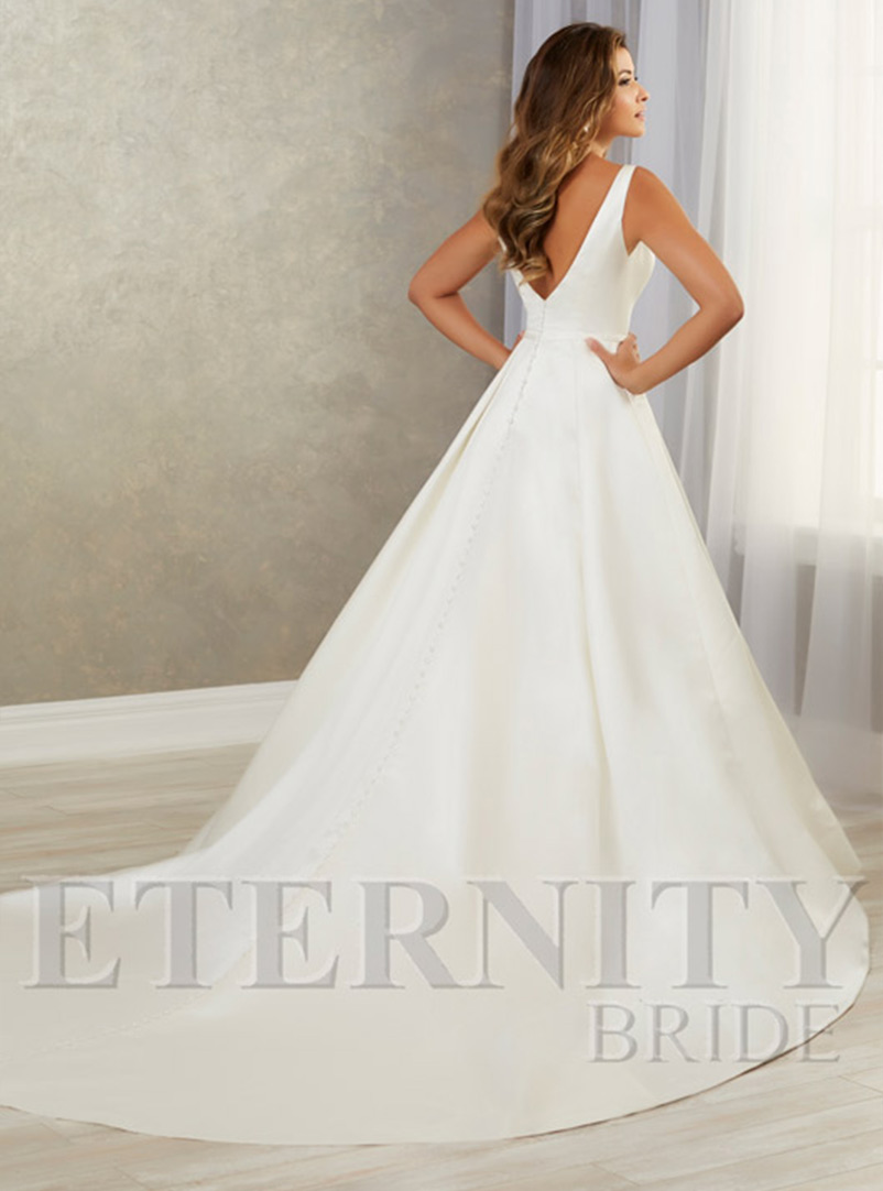 plain a line wedding dress with train
