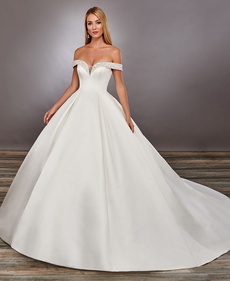 satin a line wedding dress with detachable modesty piece