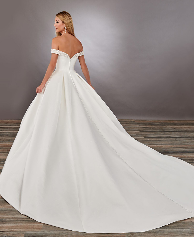 satin a line wedding dress with semi-cathedral length train