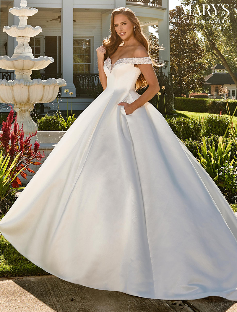 satin off-the-shoulder a line wedding dress