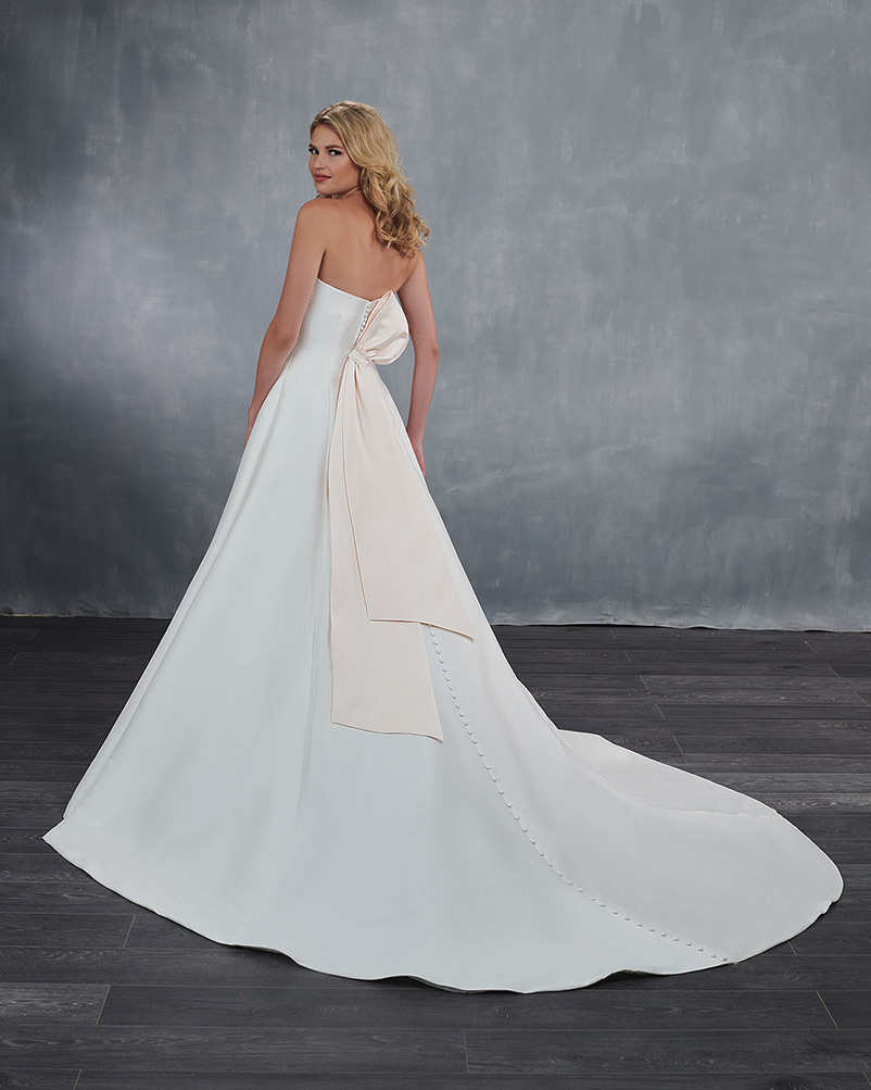 strapless a line wedding dress with chapel train