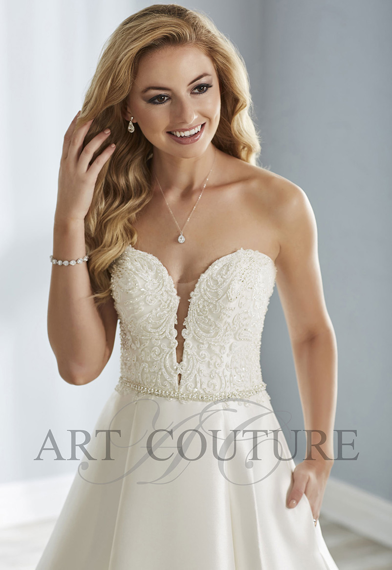 strapless a line wedding dress