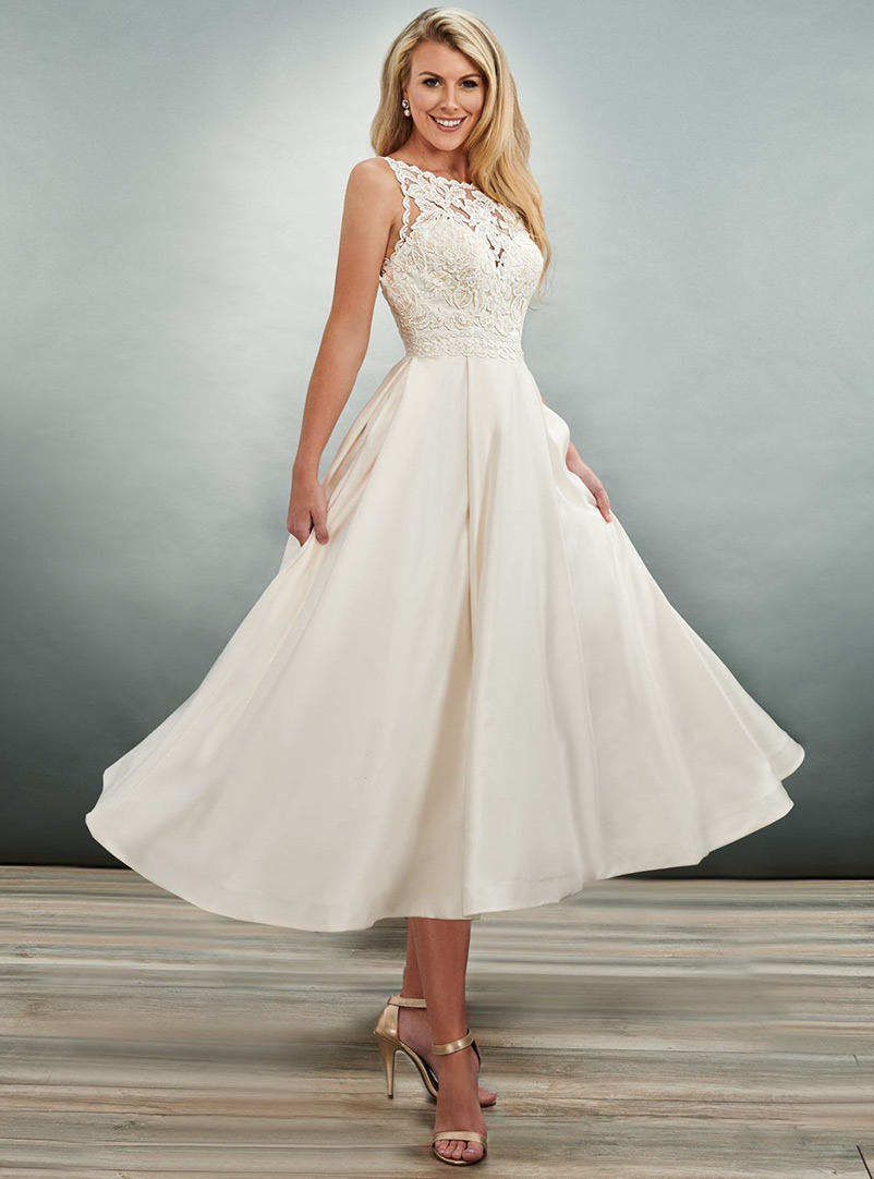 tea-length a line wedding dress with lace