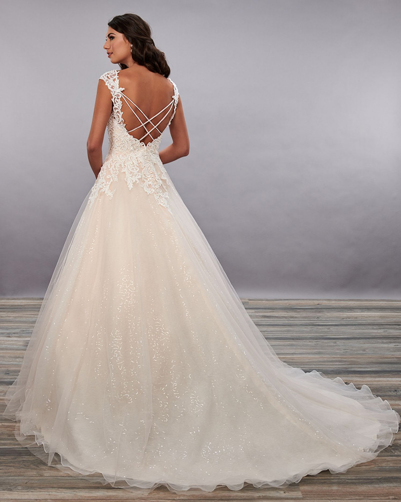 v neck a line wedding dress with chapel length train