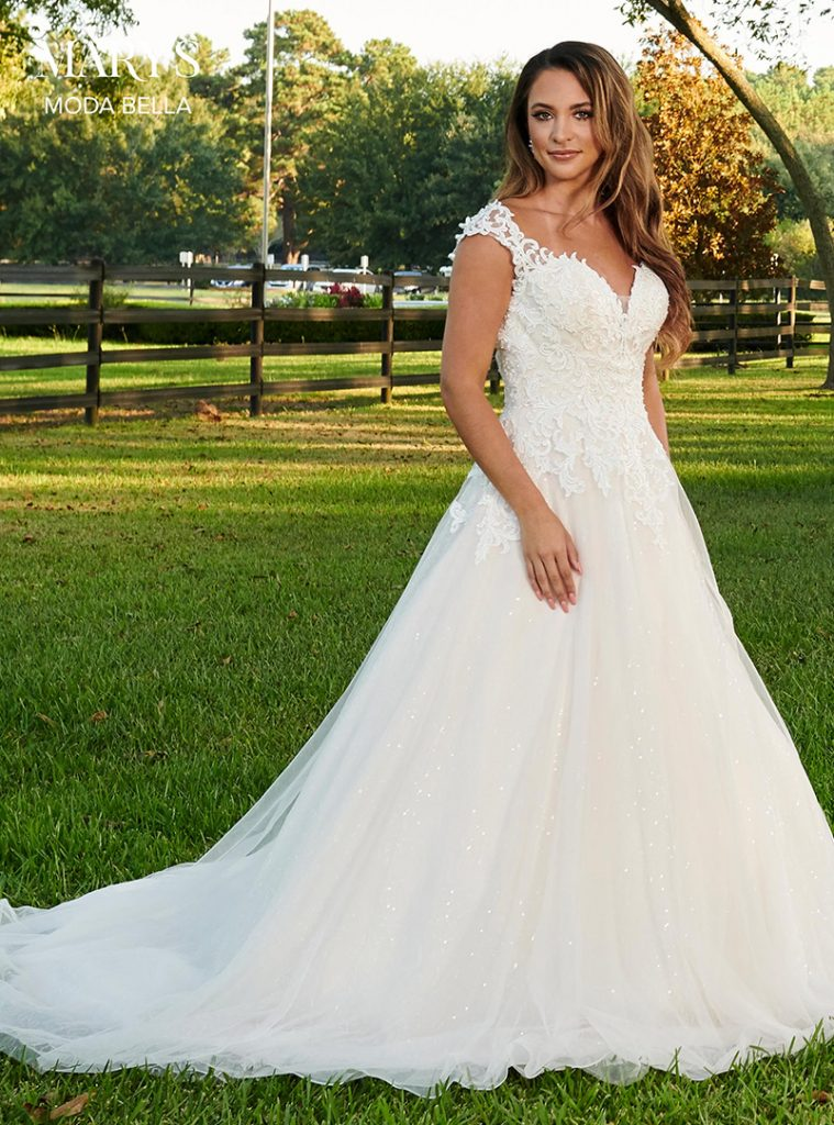 v neck a line wedding dress with lace