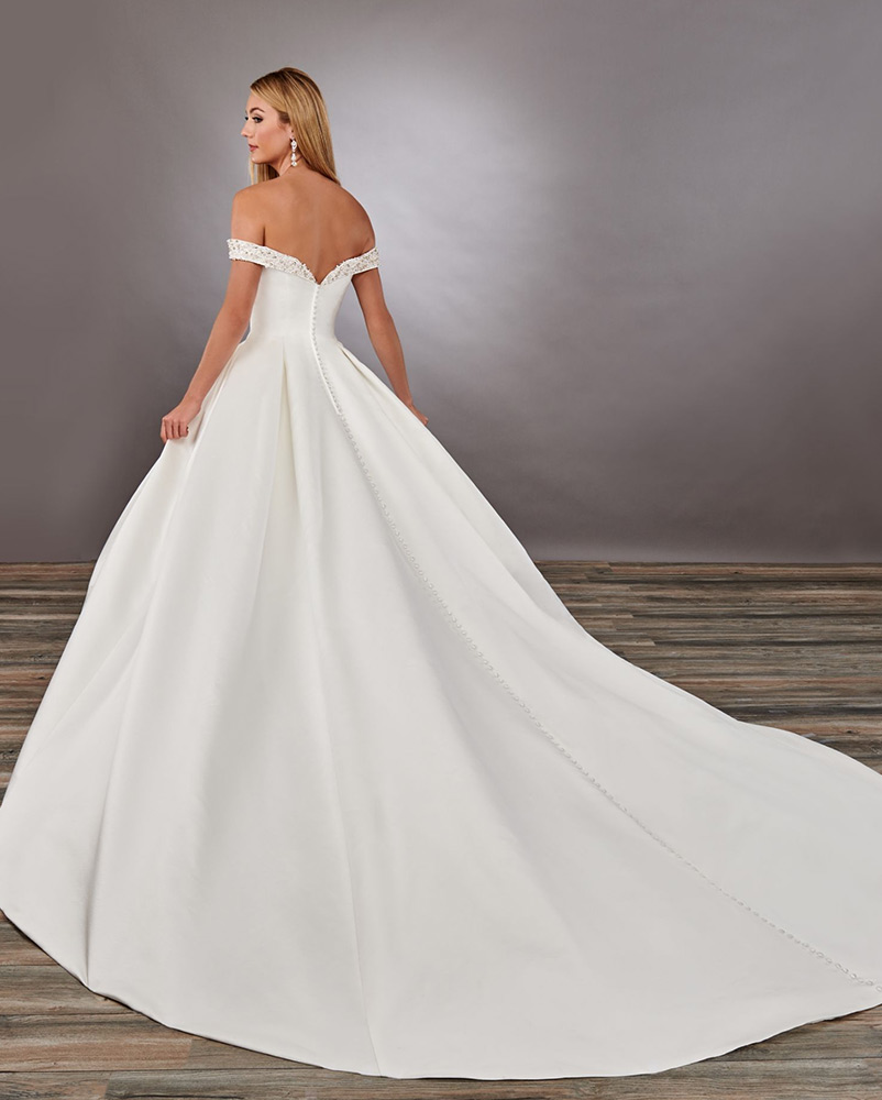 wedding dress off the shoulder back
