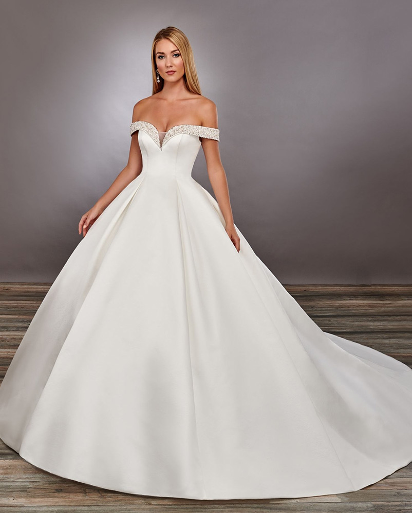 wedding dress off the shoulder
