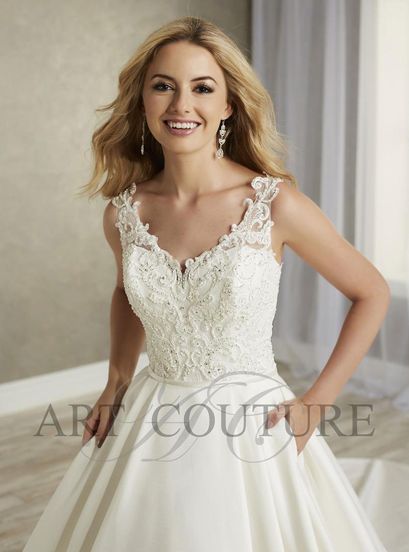 white lace a line wedding dress