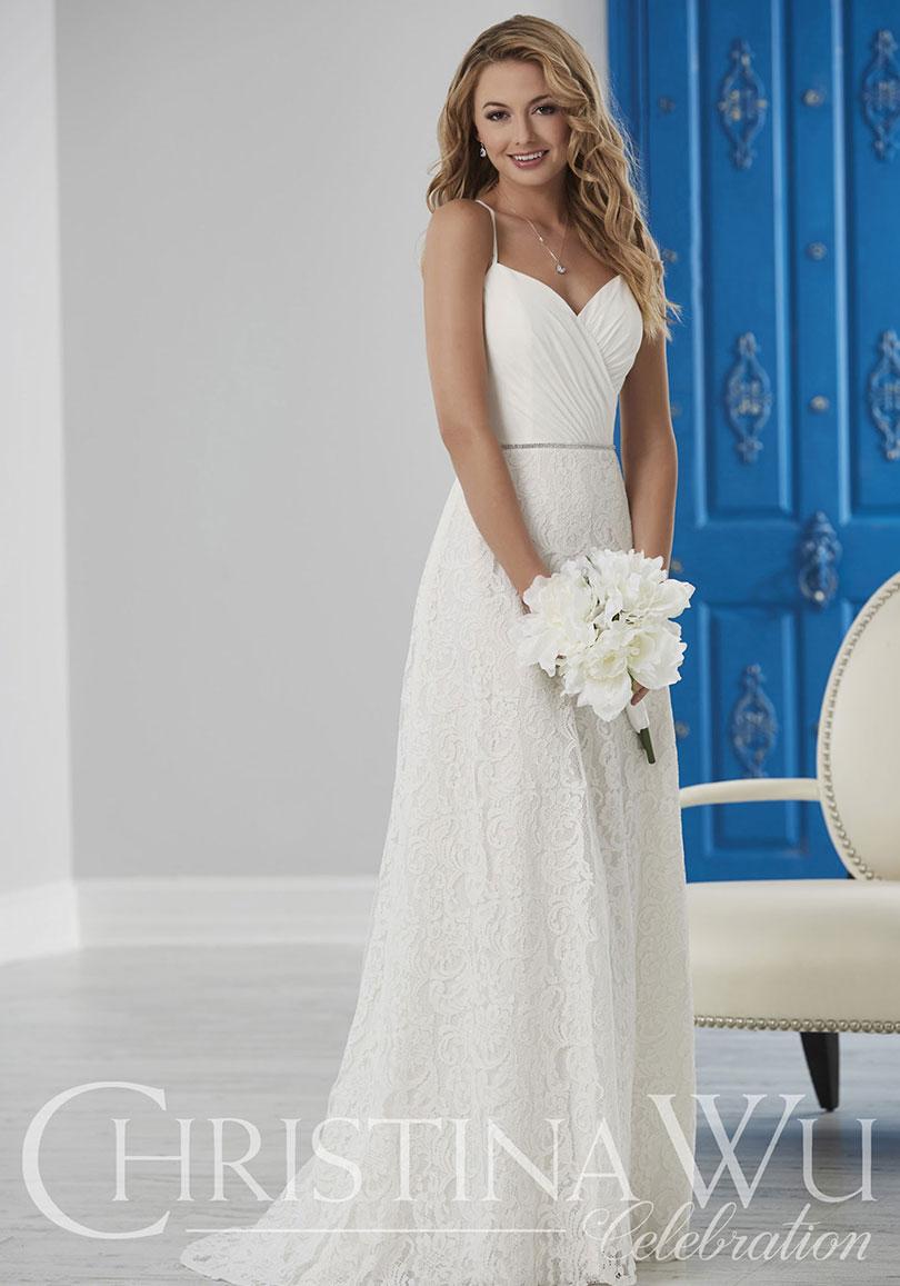 Lace wedding dress with belt
