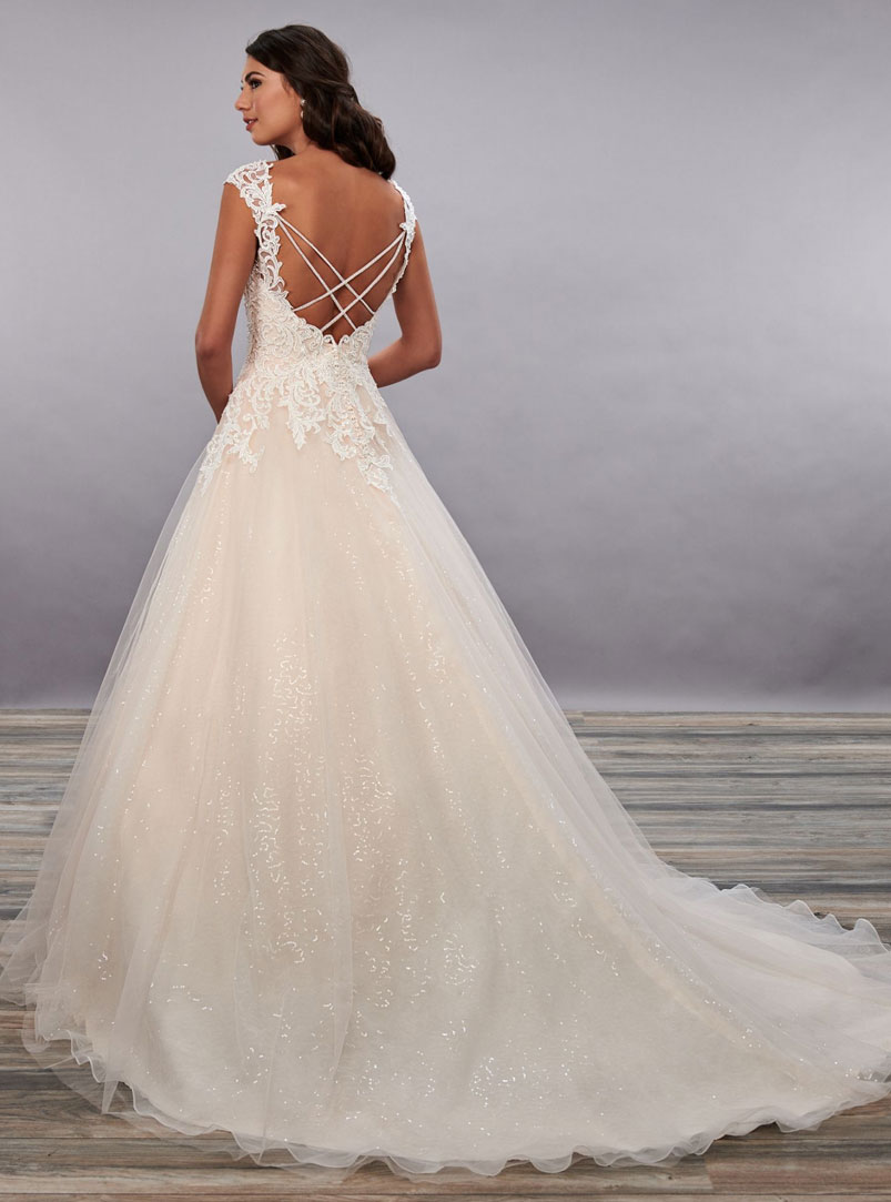 ball gown wedding dress with chapel length train