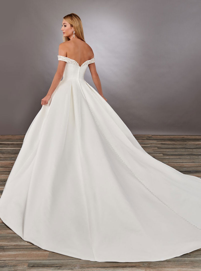 ball gown wedding dress with semi-cathedral length train