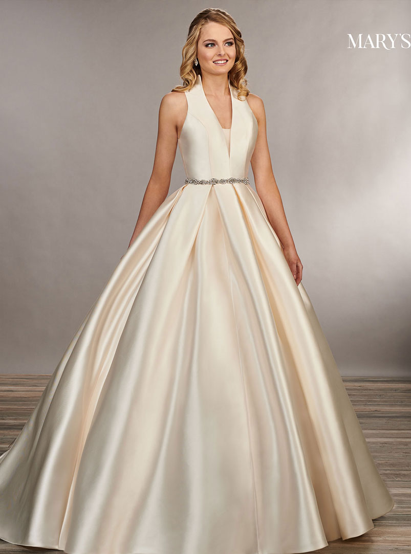 ball gown wedding dress with sheer illusion inset
