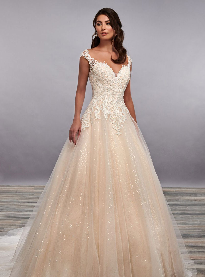 ball gown wedding dress with sparkling sequin tulle underlay