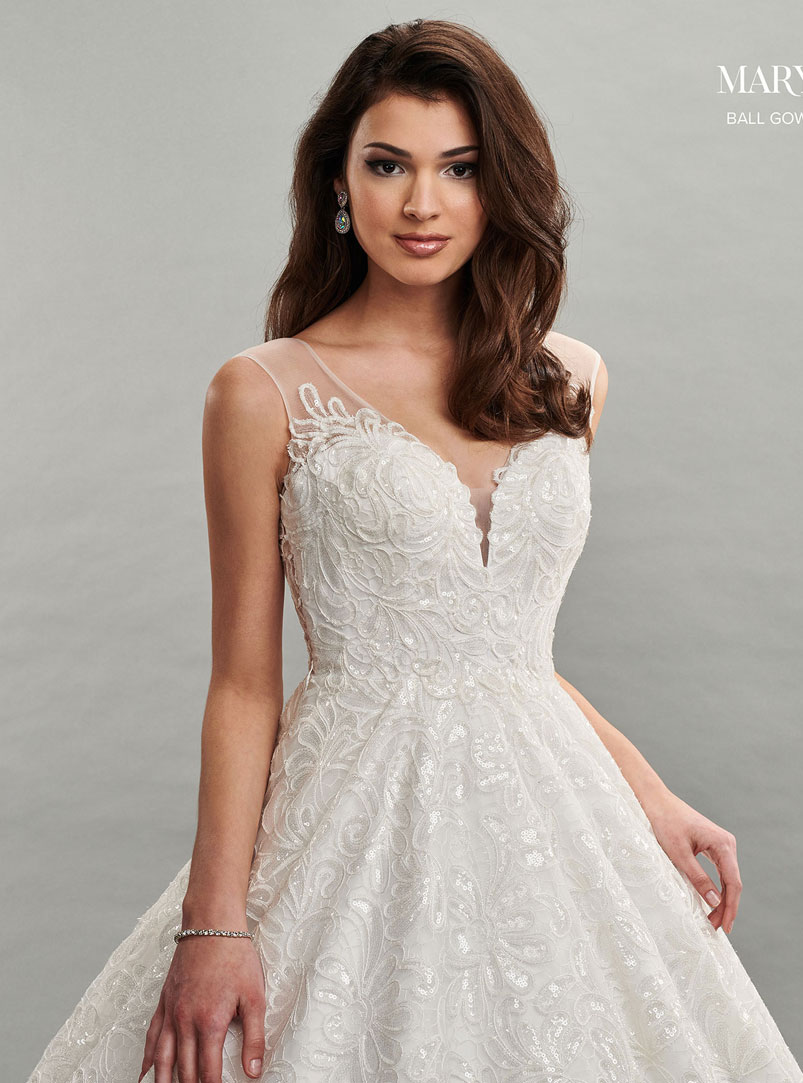 ball gown wedding dress with v neckline