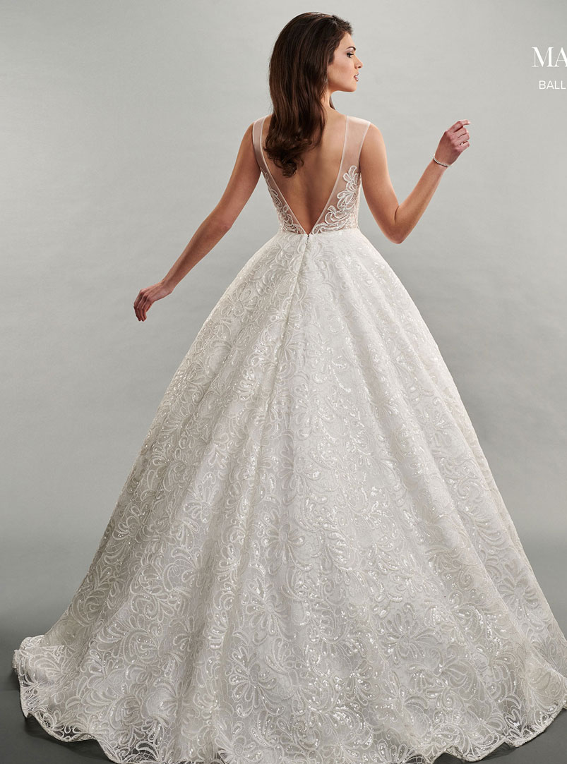 ball gown wedding dress with v shaped back