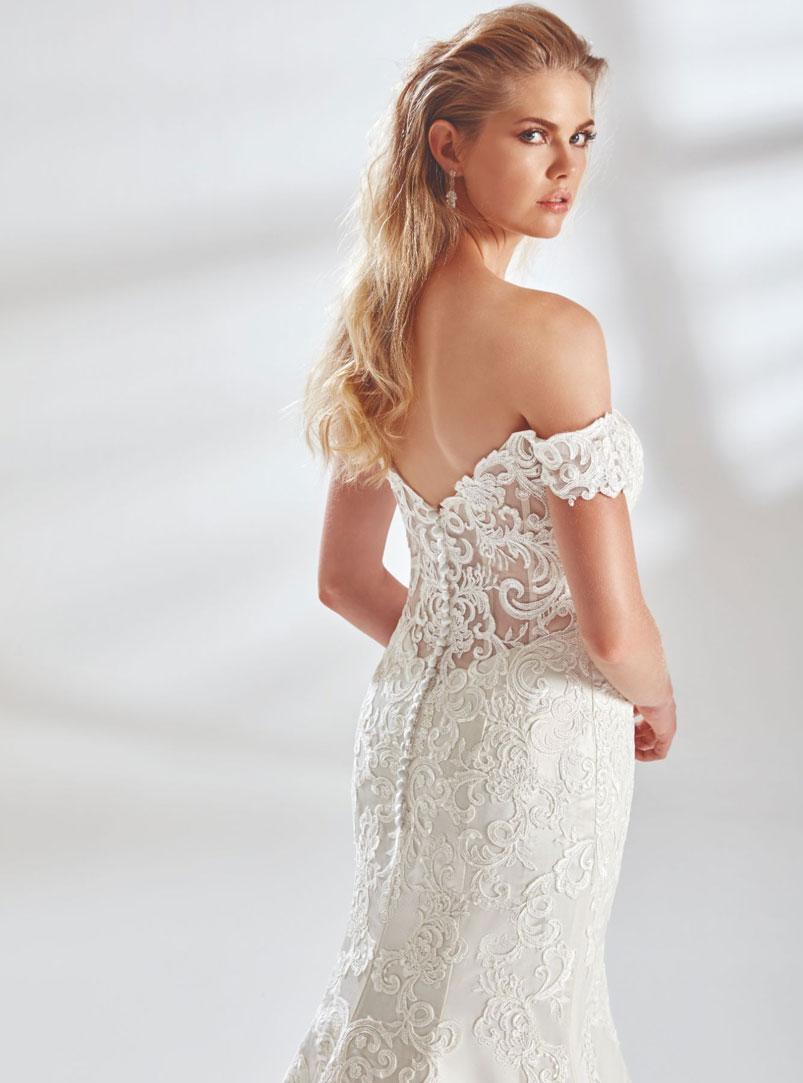 low back mermaid wedding dress