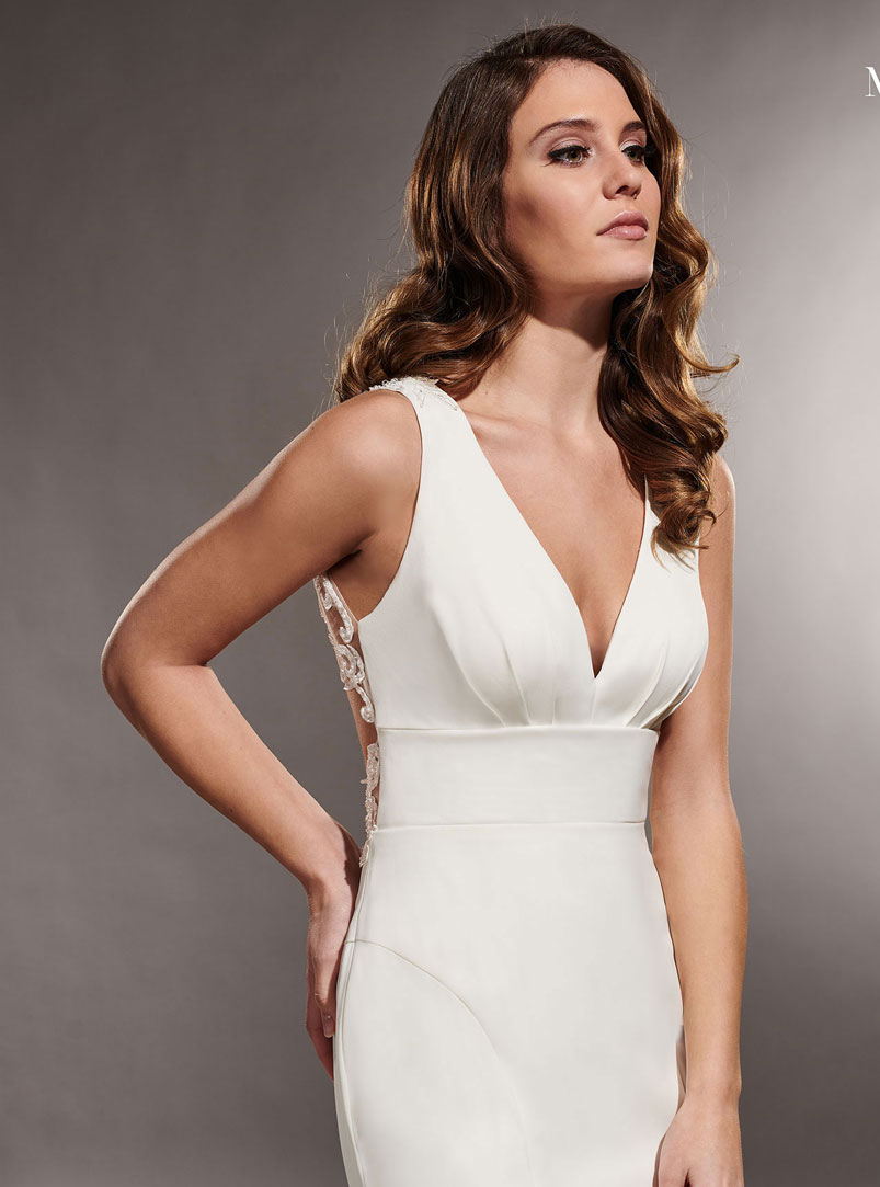 mermaid wedding dress with plunging neckline
