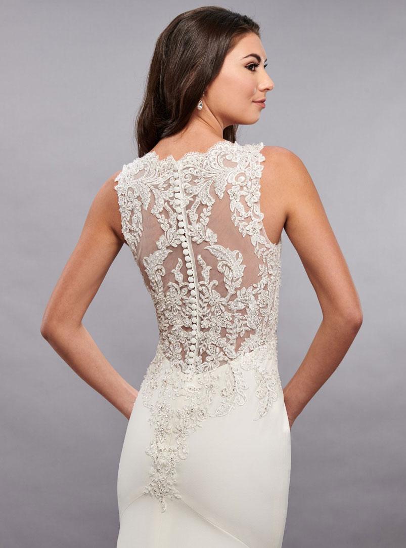 sheer back mermaid wedding dress