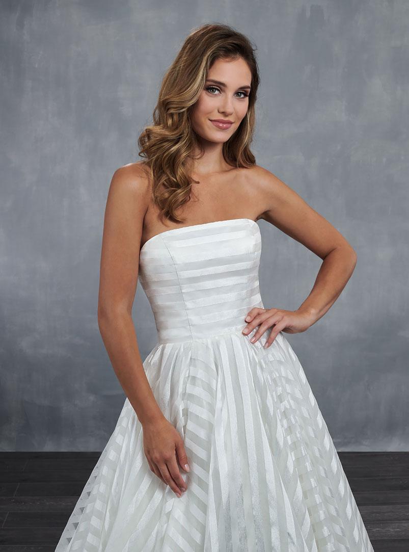 striped organza ball gown wedding dress